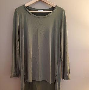 Pleione Olive Green Long Sleeve Top